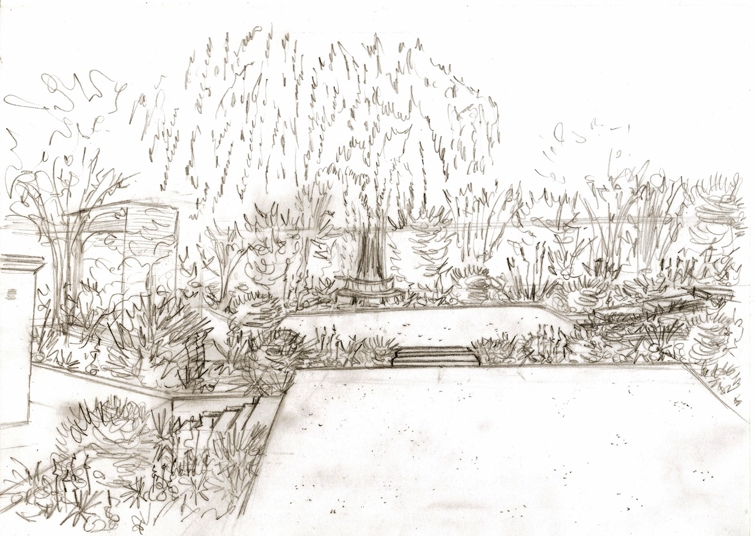Proposed garden design for Leatherhead project - view of Willow tree