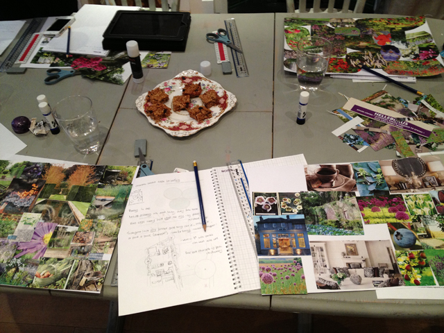 Mood boards created at The Decor Cafe Garden design workshop Lisa Cox