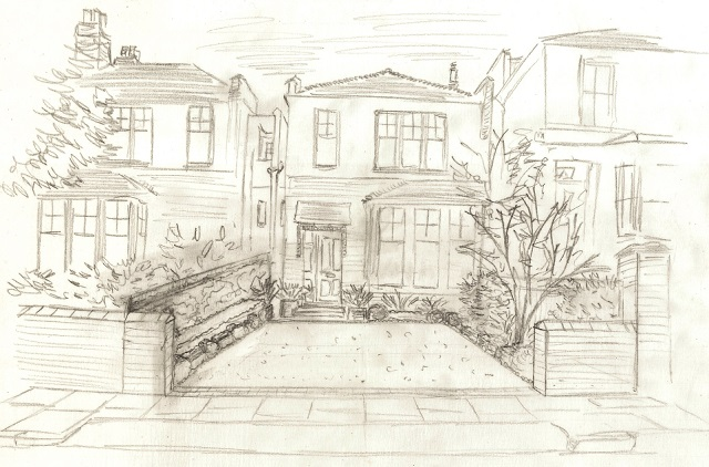 Concept sketch Muswell Hill Lisa Cox Garden Designs