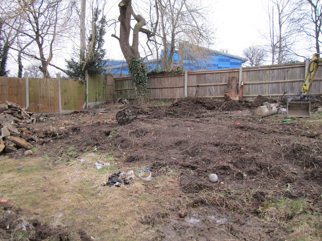 Back garden Leatherhead during construction Lisa Cox Garden Designs