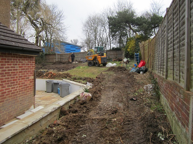 Leatherhead back garden under construction Lisa Cox Garden Designs