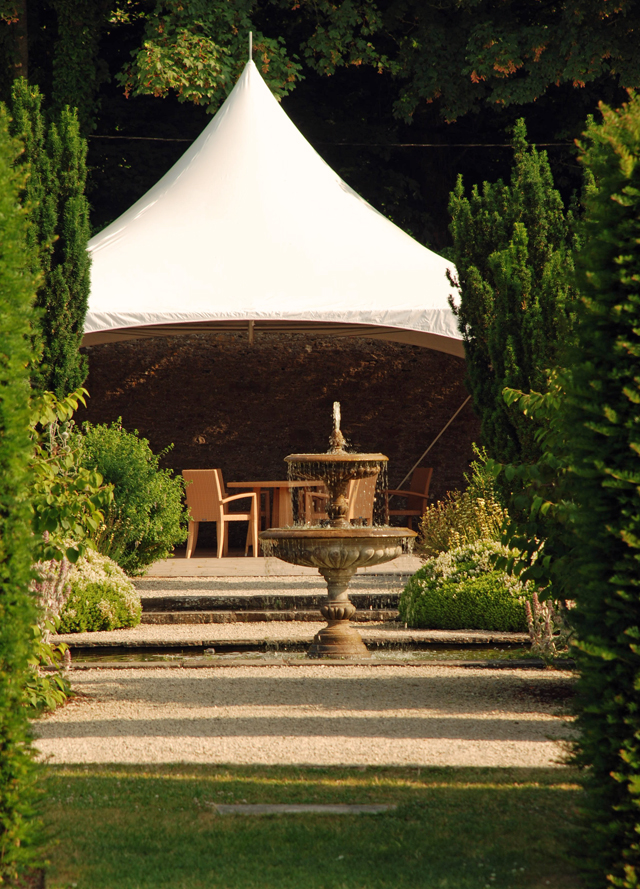 Marquee & fountain in The White Garden at Loseley Lisa Cox Designs