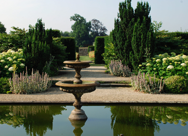 The fountain in White Garden at Loseley Lisa Cox Designs