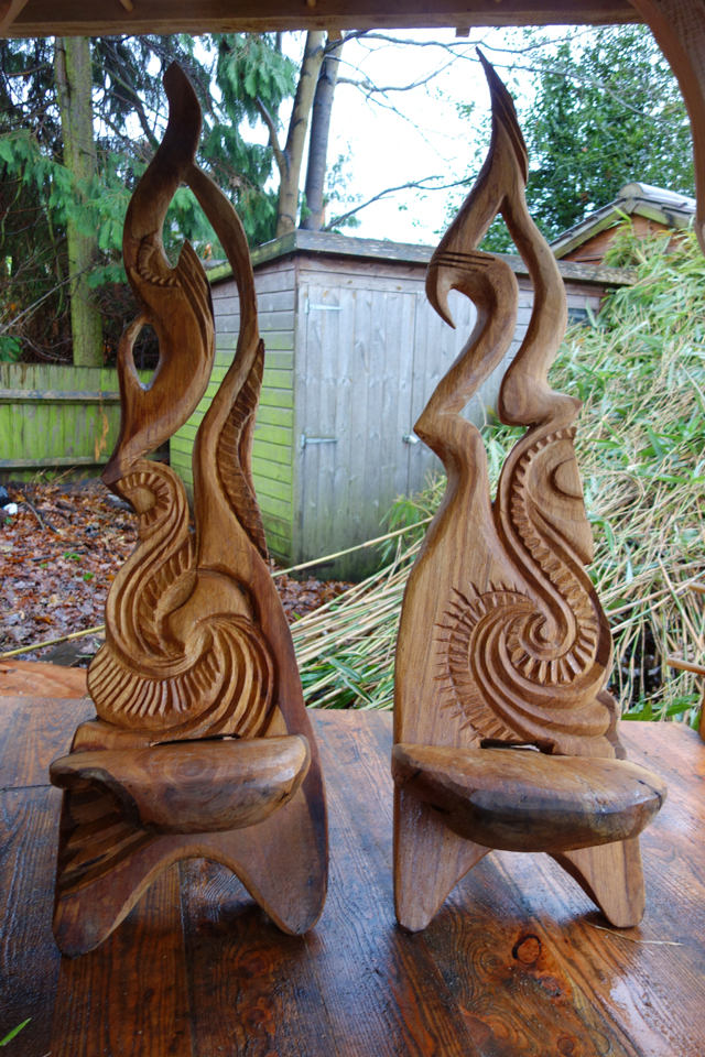 Chairs by chainsaw sculptor Ella Fielding