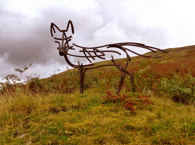 Fox on moor by Andrew Kay Sculpture