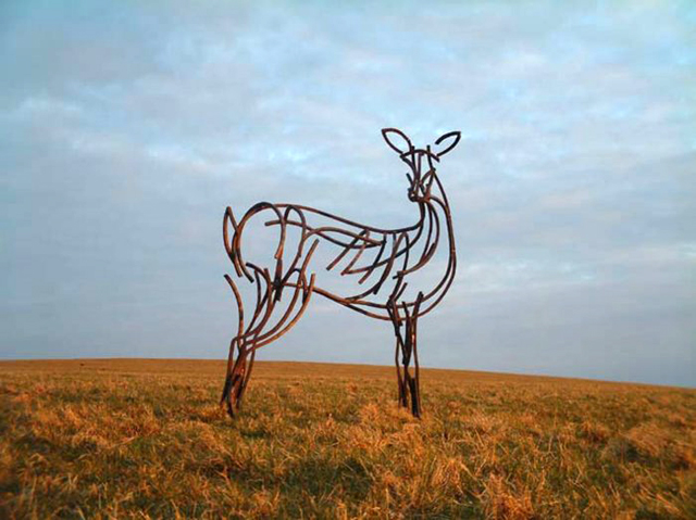 Hind on moor sculpture by Andrew Kay