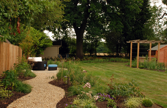 Informal path and lounge seating Horsley garden design Lisa Cox