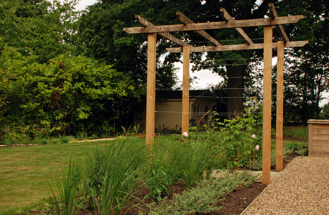 Pergola in East Horlsey Garden Lisa Cox Designs