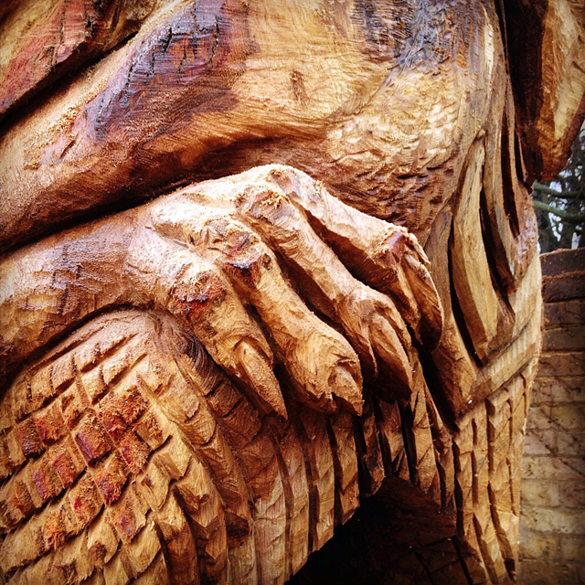 Shepperton Dragon by chainsaw sculptor Ella Fielding