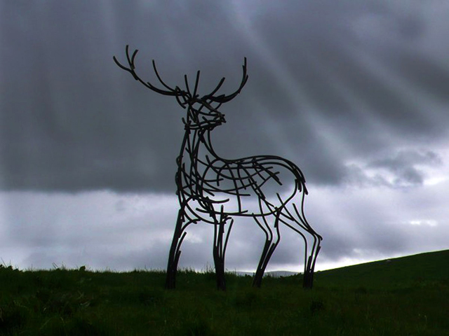 Stag on moor by Andrew Kay Sculpture
