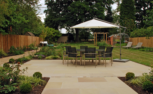 View of terrace from house East Horsley Lisa Cox Garden Designs