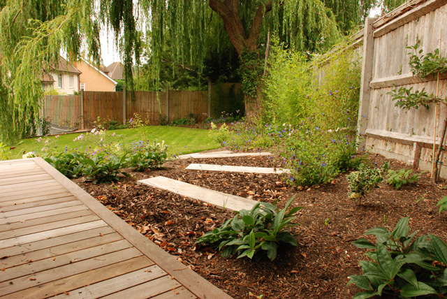 Informal sleeper steps Leatherhead garden design Lisa Cox