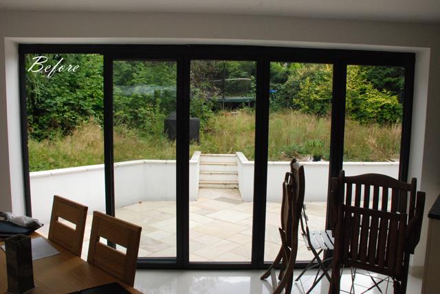 View from kitchen before redesign Lisa Cox Garden Designs