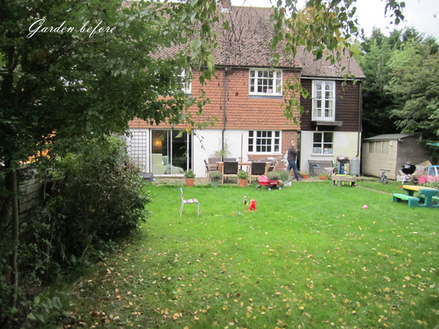 Back garden West Horsley Before redesign Lisa Cox Designs