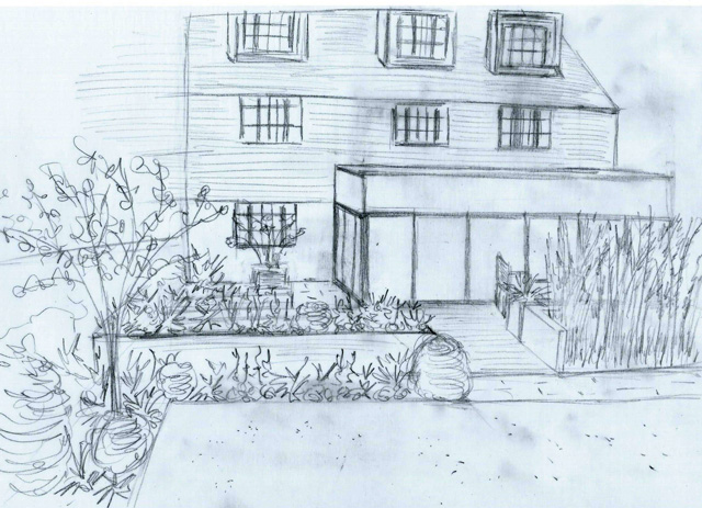 Sketch view of back garden West Horsley Lisa Cox Designs