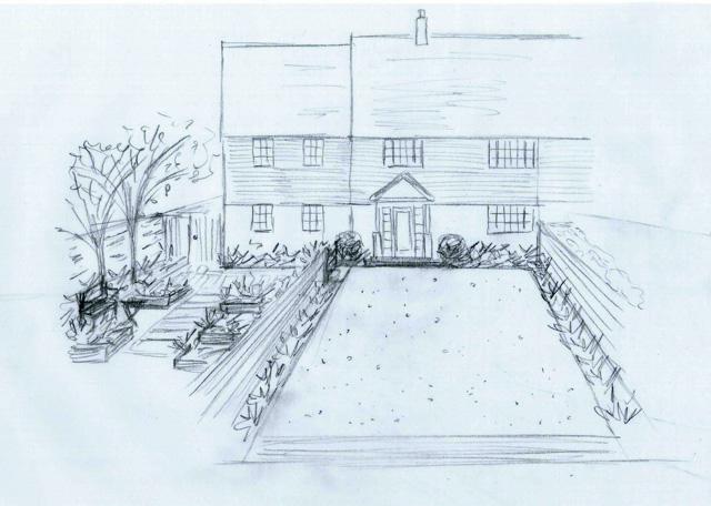 View of front garden West Horsley Lisa Cox Designs
