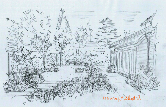 From the drawing board: Concept sketches for a garden in ...