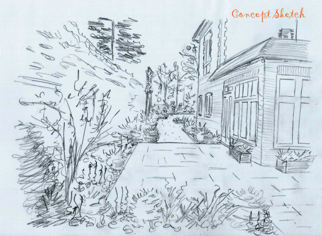 Concept sketch terrace area at The Dutch copy