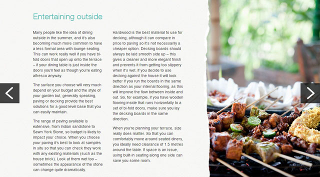 Entertaining outside - M&S Bank article by Lisa Cox Garden Designs