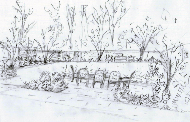 Back garden concept sketch East Horsley Lisa Cox Designs