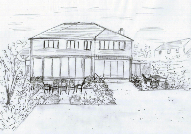 Back garden concept sketch Horlsey Lisa Cox Designs