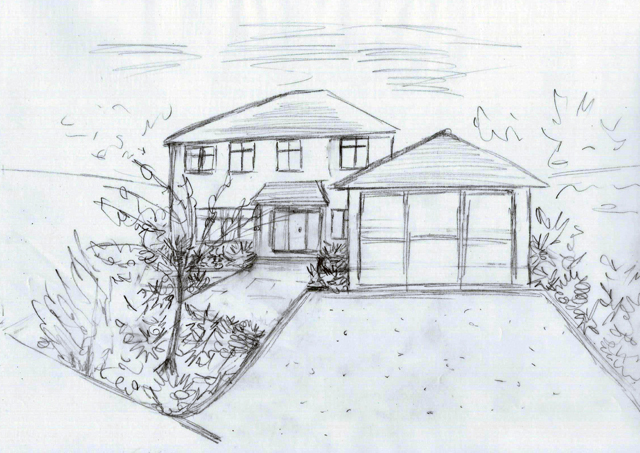 East Horsley front garden concept sketch Lisa Cox Garden Designs