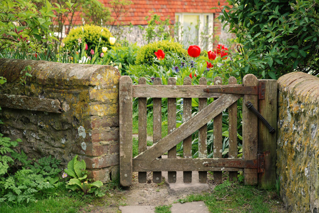 English cottage garden gate Lisa Cox Garden Designs