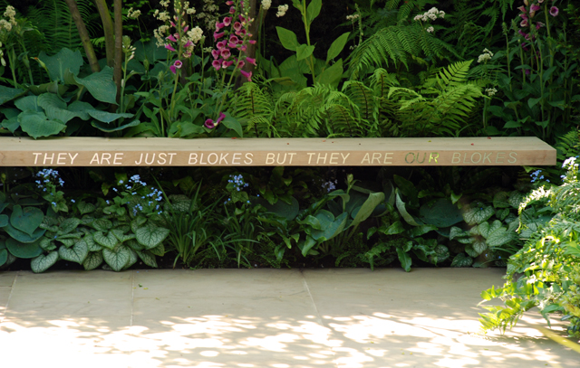 Bench in Help for Heroes garden RHS Chelsea 2014 Lisa Cox