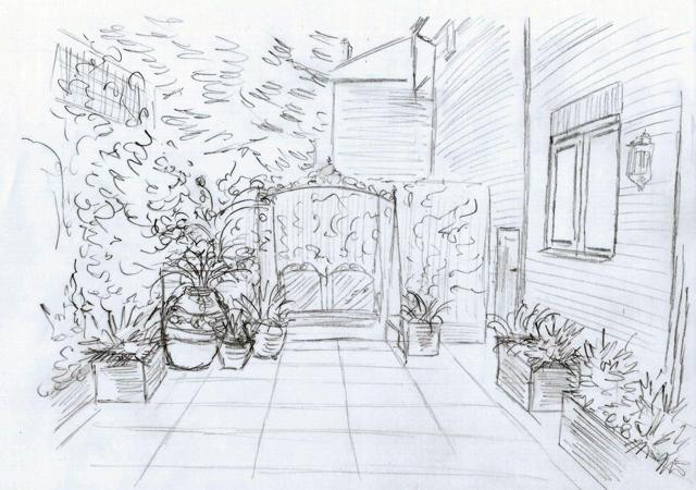 Bletchingley courtyard garden sketch Lisa Cox Designs