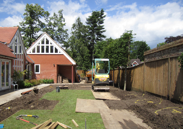 Woking back garden during construction Lisa Cox Designs
