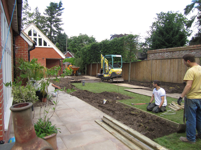 Woking garden during build Lisa Cox Designs
