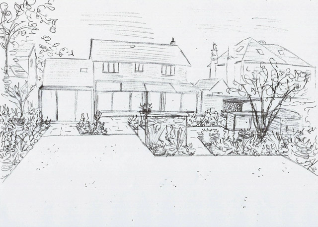 Ashtead back garden concept sketch Lisa Cox Designs