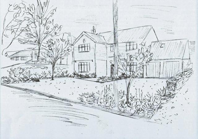 Concept sketch Ashtead front garden Lisa Cox Designs