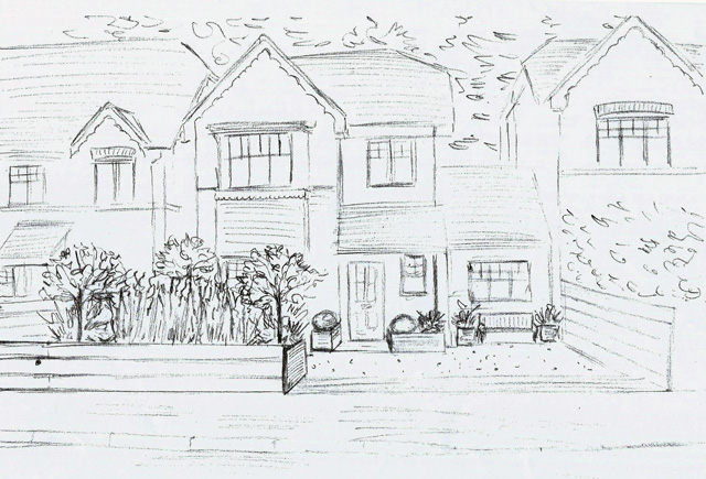 Concept sketch for front garden design in Reading Lisa Cox