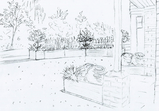 Front garden concept sketch Reading Lisa Cox Designs
