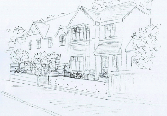 Reading front garden design sketch Lisa Cox