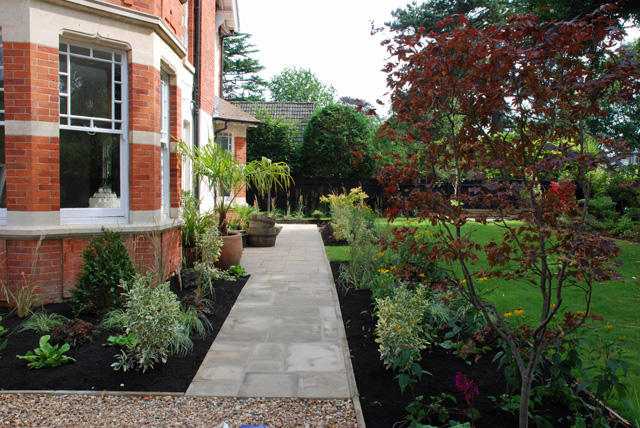 Side path in Woking garden after planting Lisa Cox Designs