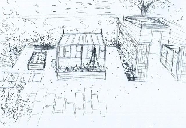 Concept sketch Epsom Garden Lisa Cox Designs