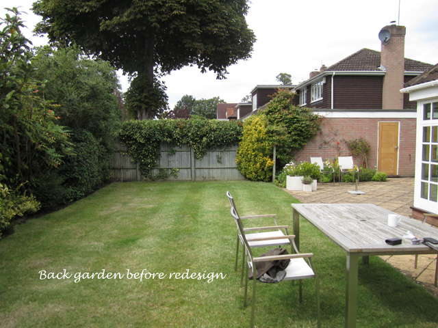 Back garden Weybridge before redesign Lisa Cox Designs