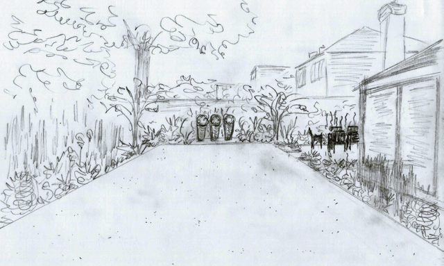 Back garden concept sketch Weybridge Lisa Cox Designs
