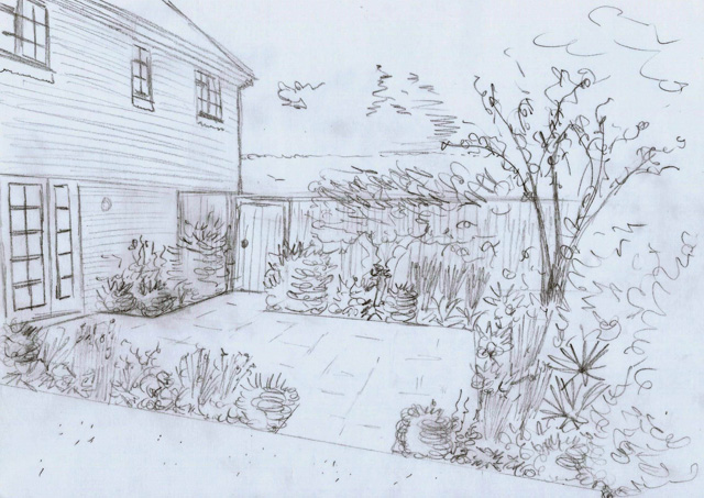 Concept sketch for Weybridge back garden Lisa Cox Designs