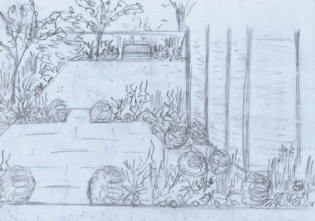 Concept sketch for garden in Weybridge Lisa Cox Designs