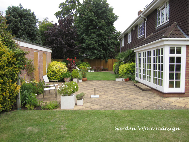 Weybridge garden before redesign Lisa Cox Designs