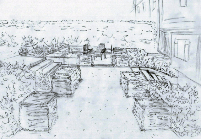 Concept design sketch Lisa Cox Garden Designs
