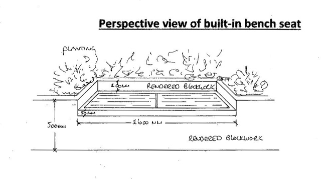 Perspective view of bench seat Lisa Cox Garden Designs
