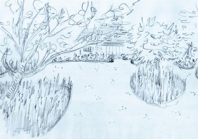Back garden concept sketch Lisa Cox Designs