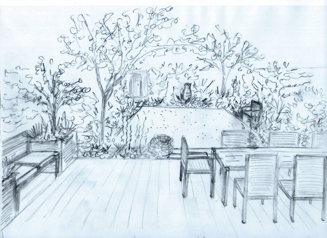 Concept sketch Back garden Chiswick Lisa Cox Designs