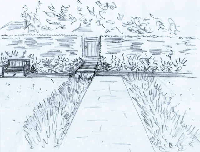 Concept sketch of front pathway Lisa Cox Garden Designs