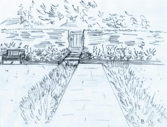 Concept sketch of front pathway Lisa Cox Garden Designs