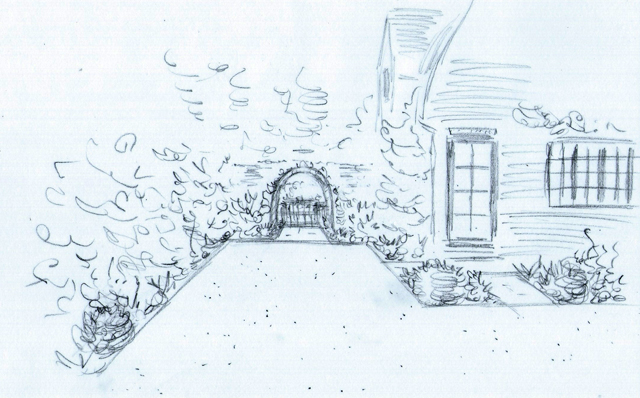 Concept sketch side access Lisa Cox Garden Designs
